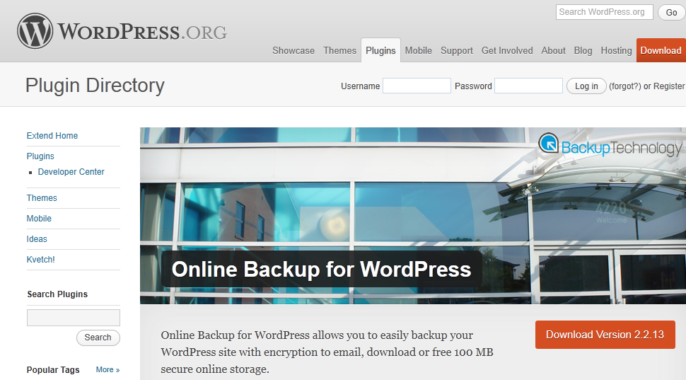 Online Backup for WordPress